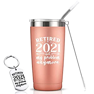 Best Retirement Gifts for Women & Men 2021! Celebrate your retirement while keeping your coffee warm or drinks cold in this 20 oz stainless steel vacuum-insulated Retirement Tumbler Mug Funny Retired Gifts on Many Occasions: Any Retiree's Birthday, 2...