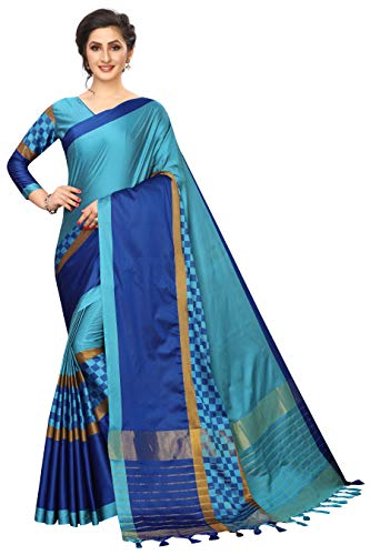 ETHNICMODE Women's Cotton Polyester Silk Fabrics Multi-Colored Printed Sari with Blouse Piece (Fabric) Box Blue