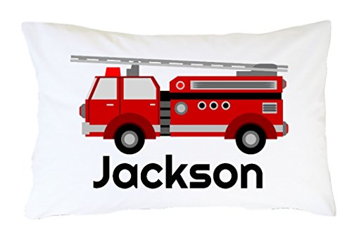 Personalized Fire Truck Pillowcase - Birthday Gift For Boy, Toddler, Son, Firetruck Lover Custom Boy's Pillow Case - Red Fire Engine Bedding Standard 20X30 Pillow Slip
