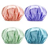 AmazerBath Shower Cap, 4-Pack Shower Caps for Women, Double Waterproof Layers Bathing Shower Hat Hair Protection EVA Shower Caps Reusable, Medium Size