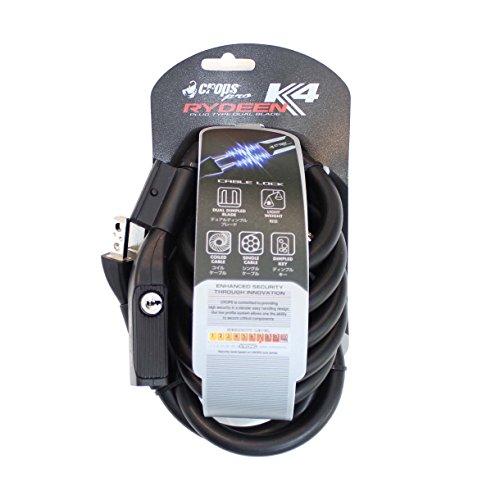 CROPS Verrou Pro K4 Rydeen - 12mm Diametre Câble En Acier Enroulé 180 Centimetre Long - Vélo Scooter Moto - AntiVol - Haute Sécurité