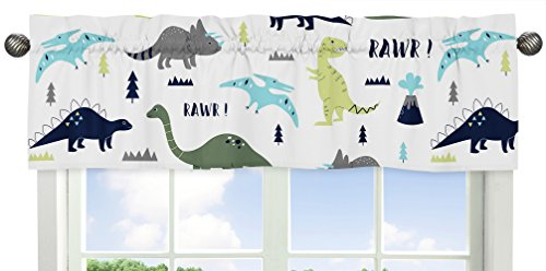 Sweet Jojo Designs Window Treatment Valance for Blue and Green Modern Dinosaur Collection