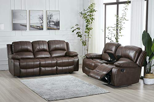 Betsy Furniture 2PC Bonded Leather Recliner Set Living Room Set, Sofa Loveseat Pillow Top Backrest and Armrests 8018 (Brown, Living Room Set 3+2)