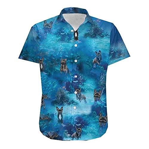 Diving Frenchie Hawaiian Shirts for Men - French Bulldog Button Down Mens Hawaiian Shirts Short Sleeve Series 105 Size 3XL