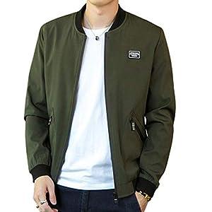 EASTEMPO ジャケット ma-1 メンズ 長袖 ブルゾン カジュアル 春秋 ゆったり おしゃれ 防風 大きいサイズ (グリーン, L)