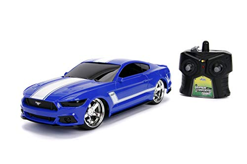 Jada Toys Big Time Muscle Hyperchargers RC - 2015 Ford Mustang Gt, USB Charging, 2.4 Ghz, Glossy Blue with White Stripes