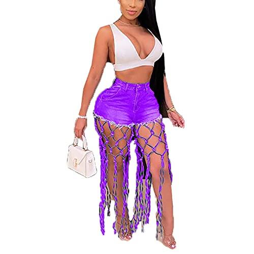 Pantalones De Mujer Moda Casual All-Match Pantalones Cortos De Malla De Mezclilla Huecos De Cintura Alta