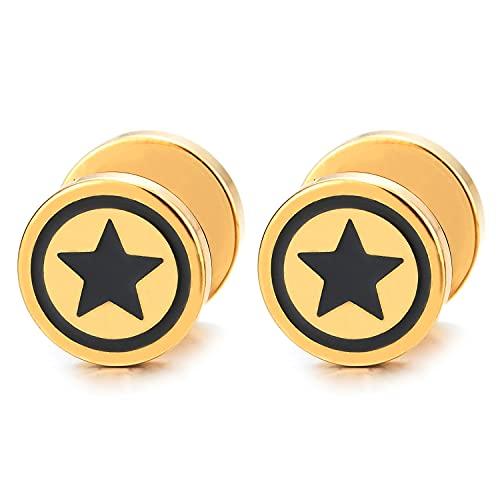Hombre Mujer 10MM Oro Círculo Estrella Pendientes con Negro Esmalte, Acero Enchufe Falso Fake Cheater Plugs Gauges