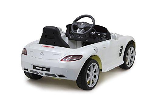 RC Auto kaufen Kinderauto Bild 2: Jamara 404610 - Ride-on Mercedes SLS AMG weiß 40MHz 6V – Kinderauto, leistungsstarker Motor und Akku, bis zu 90 Min Fahrzeit,Ultra-Gripp Gummiring am Antriebsrad,Anschluss von Audioquellen,Sound,Licht*