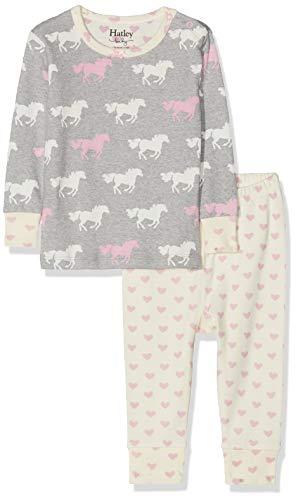 Hatley Mini Long Sleeve Pyjama Sets Ensemble, Gris (Pasture Horses 020), 12-18 Mois (Taille Fabricant: 12M-18M) Bébé Fille