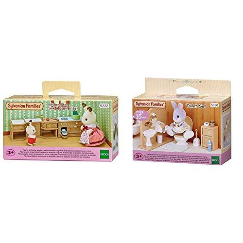 Sylvanian Families 5222 - Kücheneinrichtungsset &  Families 5020 Toiletten Set und Accessories, 10,3 x 3,4 x 8 cm