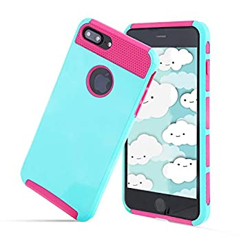 Compatible with iPhone 6S/6 Case Heavy Duty Slim Shockproof Drop Protection 2 in 1 Hybrid Hard PC Covers Soft Rubber Bumper Protective Anti Slip Case for iPhone 6 / 6S - Teal