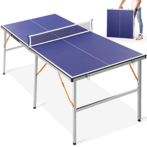 MaxKare 【Limited Time Promotion】 Mid-Size Ping Pong Table Table Tennis Table, Multi-Use Foldable Table for Outdoor/Indoor Family Game, 2 Table Tennis Paddles and 3 Balls