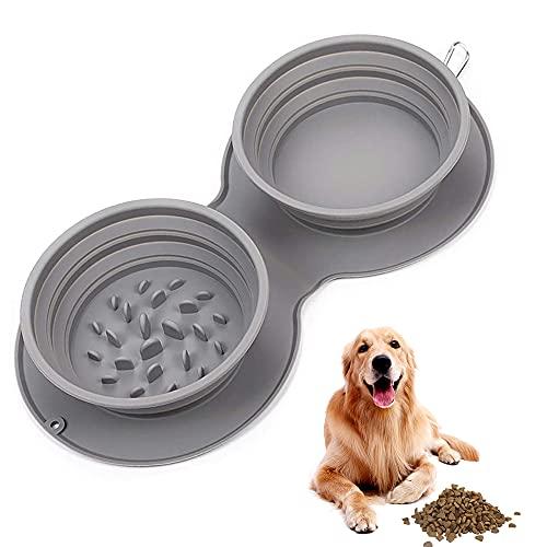 Cuenco Plegable Perro, Comedero Plegable De Silicona para Perros, Alimentador De Portátil...
