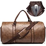 Carry on Garment Bags for Travel Leather Garment Duffle Bag Convertible Mens Suit Travel Bags with Shoe Compartment,Waterproof,Perfect for Business Travel/Husband Gifts