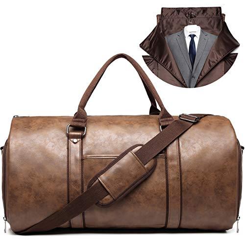 キャリーオンガーメントバッグ 旅行用レザー衣類ダッフルバッグ コンバーチブルメンズスーツトラベルバッグ 靴コンパートメント付き 防水 ビジネス旅行/旦那様へのギフトに最適