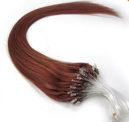 Remeehi Loops Micro Ring Beads Tipped Remy Human Hair Extensions 100S 100G (1g/s) 16 Inches #30 Light Auburn