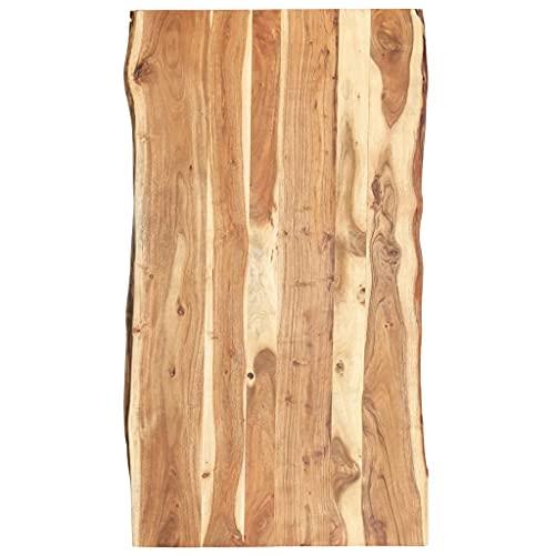 vidaXL Bois d'Acacia Massif Dessus de Table Plateau de Table de Salle à Manger Tablette de Table à Dîner Dessus de Table de Repas 120x(50-60) x3,8 cm