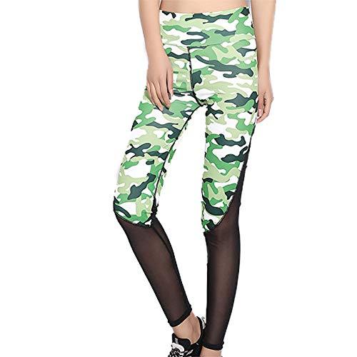 Pudyor Mujeres Leggins de Costura de Malla Pantalones Deportivos Camuflaje Leggings de Cintura Alta Mallas Transpirables Elásticos Pantalón Fitness para Correr Gym Yoga y Pilates