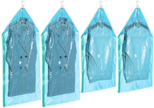 """Hanging Space Saver Bags Vacuum Storage Bags for Clothes, Set of 4 (2 Long 53""""x27.6"""", 2 Short 41.3""""x27.6""""),Vacuum Seal Storage Bag Clear Bags for Suits, Dress or Jackets, Closet Organizer"""