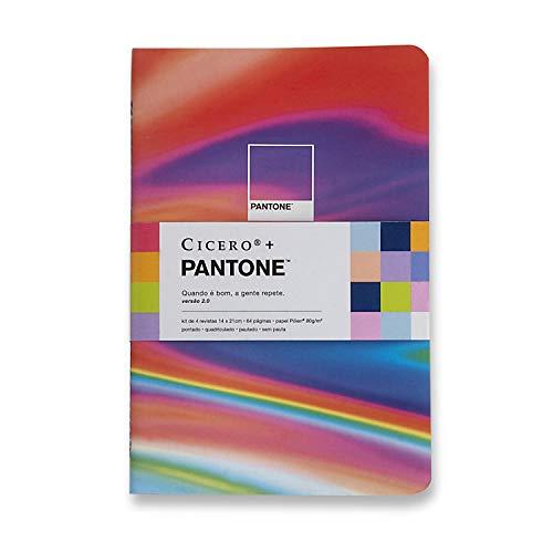 Kit Notas Mix 4 Revistas Pantone Miolos Diferentes, Cicero, 3311, Multicolorido, 14x21 (Médio)