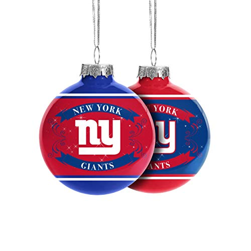 FOCO New York Giants NFL 2019 Glass Ball Ornament - 2 Pack