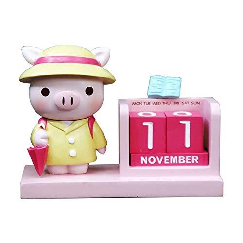 JJSFJH Calendario Bloque, calendarios 2021 Rosa Escritorio Calendario Cerdo Perpetuo Calendario Desktop Descritorio infantil Calendario Familia Resina Bloque Daily Calendar Calendarios de dibujos anim