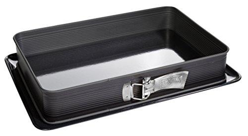 Zenker Rechteck-Springform DELUXE, eckige Premium-Backform mit emailliertem Boden und Auslaufschutz, Kuchenform mit Antihaftbeschichtung (Farbe: Schwarz metallic), Menge: 1 Stück