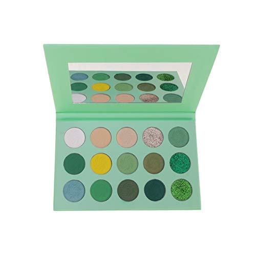 Lurrose paleta de sombras de ojos verde 15 colores sombras de ojos mate y brillante paletas de maquillaje de ojos altamente pigmentadas con espejo para mujeres