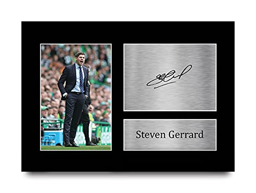 HWC Trading Steven Gerrard Gift Signed A4 Printed Autograph Glasgow Rangers Gifts Photo Display