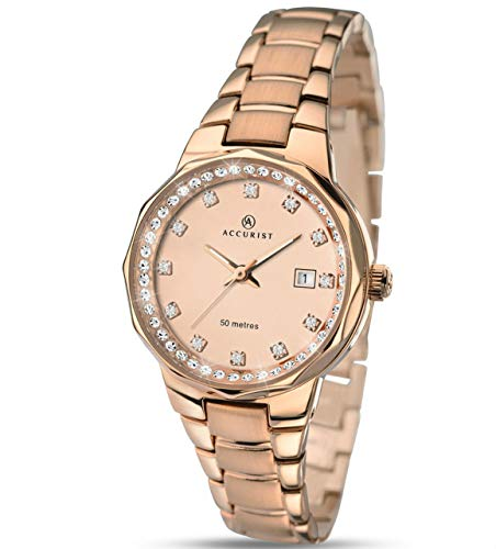 Accurist Ladies' Stone Set Dial Rose Gold Bracelet Watch 8017