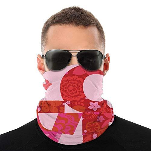 Mike-Shop Valentinstag Liebesbotschaft Blumenplakat Halswärmer Halsmanschetten Gesichtsschalwärmer Weiche Sturmhaube Schal Gesichtsschutz mit 6 Filtern