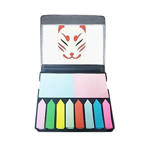 Traditionele Japanse lokale vos masker zelfklevende notitie kleur pagina markeerdoos