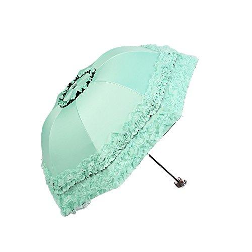 Monbedos Damen Regenschirm, Spitze, Sonnenschirm, UV-Schutz grün