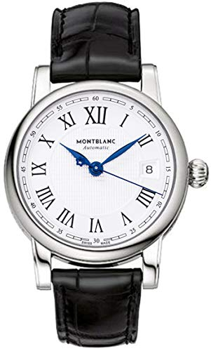 Montblanc Star FECHA automático plata Dial Negro Cuero Mens Reloj 107115