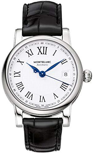 MontBlanc 107115 - Orologio automatico da uomo con data, quadrante argentato e cinturino in pelle nera