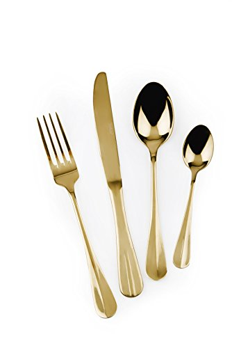 Excelsa Gold Service Couverts, Acier, Or, 24 unités