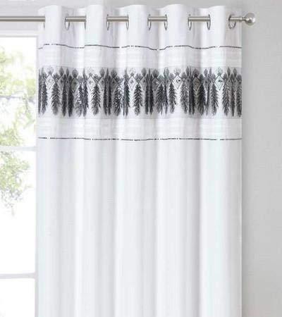 Rapport Par de cortinas con ojales en la parte superior, 167 x 182 cm, color blanco y plateado