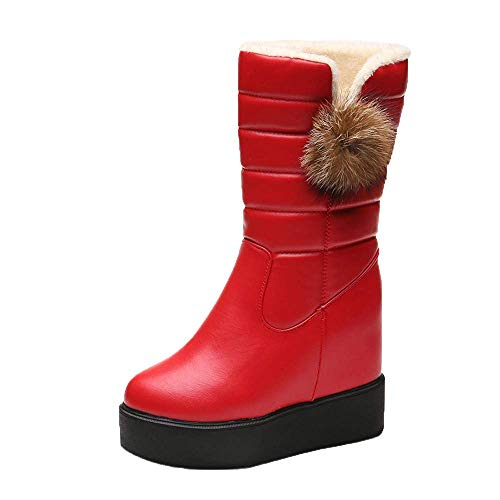 Botas de invierno de tobillo de nieve para mujer zapatos, años 60 plantillas de plataforma de tacón alto Zip Goth Chukka Martin Desert Tactical Leather Tamaño 3-10 ( Color : Rojo , tamaño : 5.5 UK )