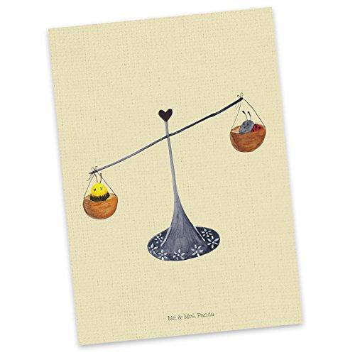Mr. & Mrs. Panda Grußkarte, Geschenkkarte, Postkarte Sternzeichen Waage - Farbe Gelb Pastell