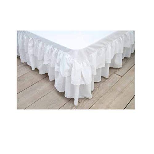 BLANC MARICLO Vestiletto matrimoniale bianco con pizzo sangallo 185x200x30cm 184524