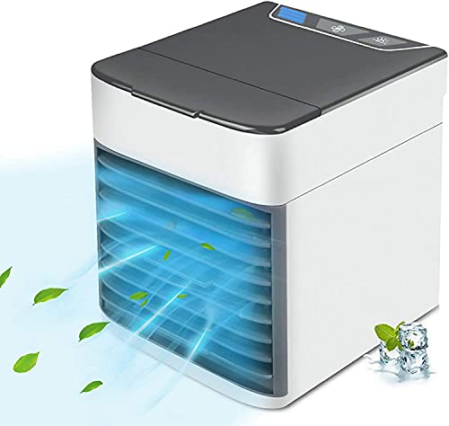 Personal Air Cooler, USB Portable Air Conditioner Fan with 3-Speed, Mini Air Conditioner with LED Light, Mini Fan Humidifier for Room, Office