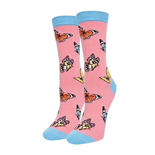 HAPPYPOP Butterfly Socks Women Pink Crew Insect Socks