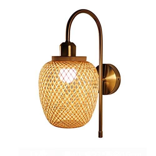 Aplique de Pared de ratán Vintage Pantalla de bambú lámpara de Pared...