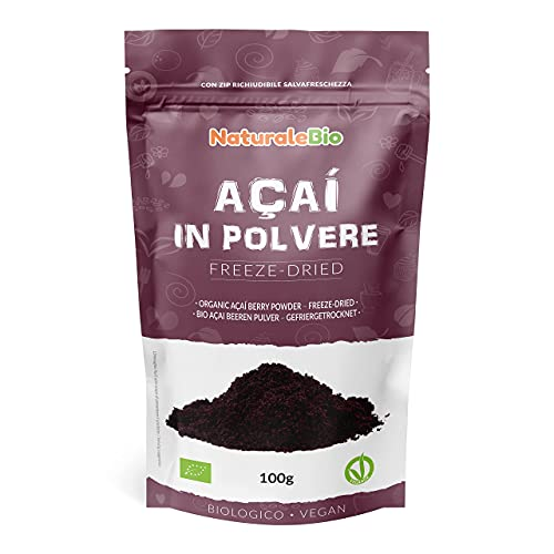 Açaí Beeren Pulver Bio [ Gefriergetrocknet ] 100g. Pure Organic Acai Berry Powder ( Freeze-Dried ). 100% aus Brasilien, Getrocknet, Rohkost und Extrakt aus Pulp der Acai-Beeren Frucht. NaturaleBio