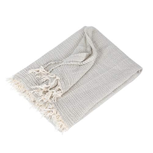 Sense of Home Decke aus Baumwolle & Cashmere - Kuscheldecke Made IN EU - Baumwoll-Decke mit Fransen – Größe ca. 120x170 cm – Moderne Tagesdecke für Sofa & Bett – Grau 120x170cm