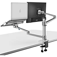 Viozon 2-in-1 Adjustable Dual Arm Desk Monitor and Laptop Mount