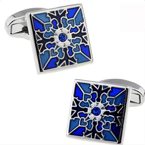 Kanggest.1 Paar Herren Quadratische Gitter Manschettenknöpfe Ärmelknopf für Hemd Anzug Manschetten Dekoration Chrom – Blau