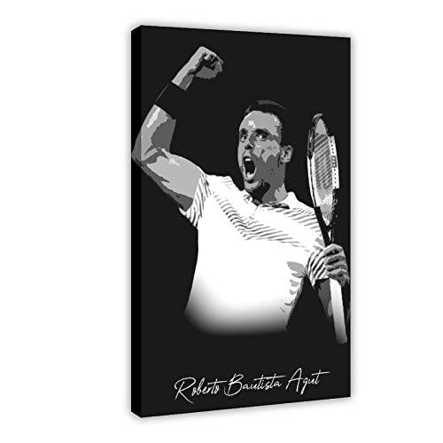 Roberto Bautista Agut Tennis Player The High Definition Decor Poster Poster Tela Camera da Letto Decor Paesaggio Sport Ufficio Camera Decor Cornice Regalo 60 × 90 cm