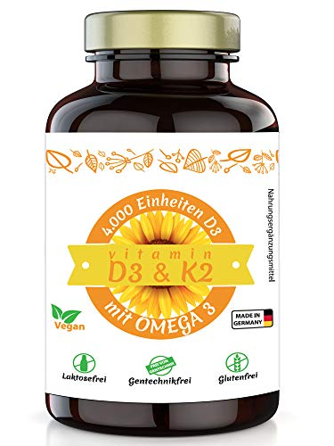 Healthland Vitamin D3 K2 plus Omega 3 Kapseln vegan hochdosiert 4000 I.E. | 90 Depot Weichkapseln mit MK7 | Natural Supplement Vitamins D3K2 and Omega3 | Algenöl